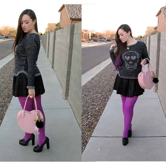Skull Sweater Leather Skirt Outfit