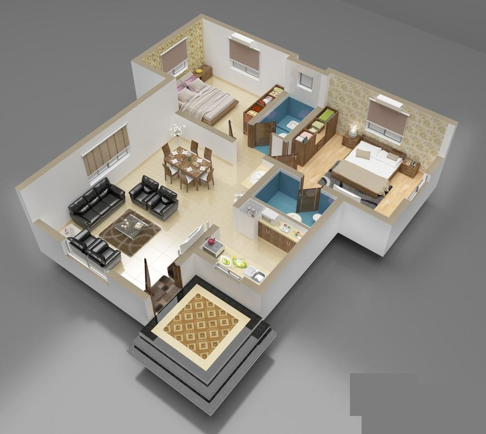 3d front 3d interior of house plan for One floor house design plans 3d