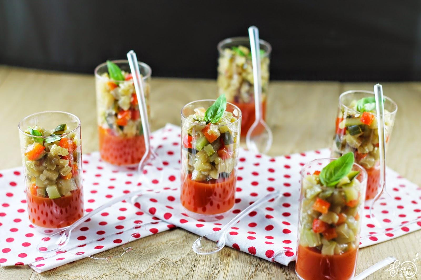 Verrines Petite Ratatouille Froide sur une Gelée à la Tomate - Une Graine d'Idée