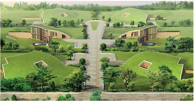 Fresh Vedic Village and bedroom earth sheltered villas with private swimming pool in Neemrana Delhi Jaipur Highway NH Rajasthan