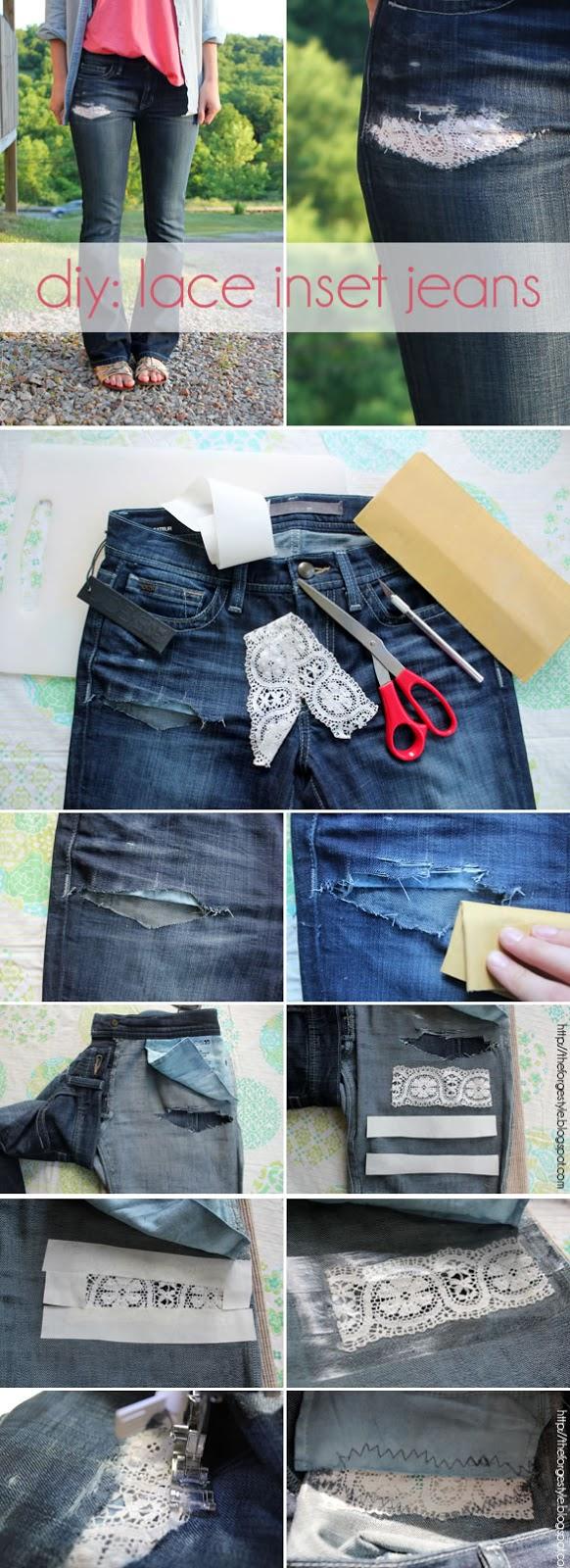 Diy  Lace inset into jeans | diy craft TUTORIALS