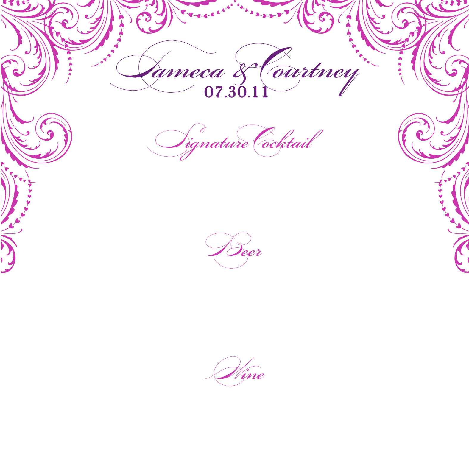 Wedding Drink Menu Template Free