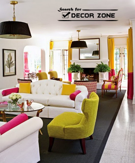 Colourful accent chairs - White Living Room Design With Decorations In Bright Color Colmbination