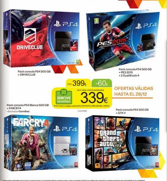 Consolas PS4 + Juego 399 euros /carrefour 14-15
