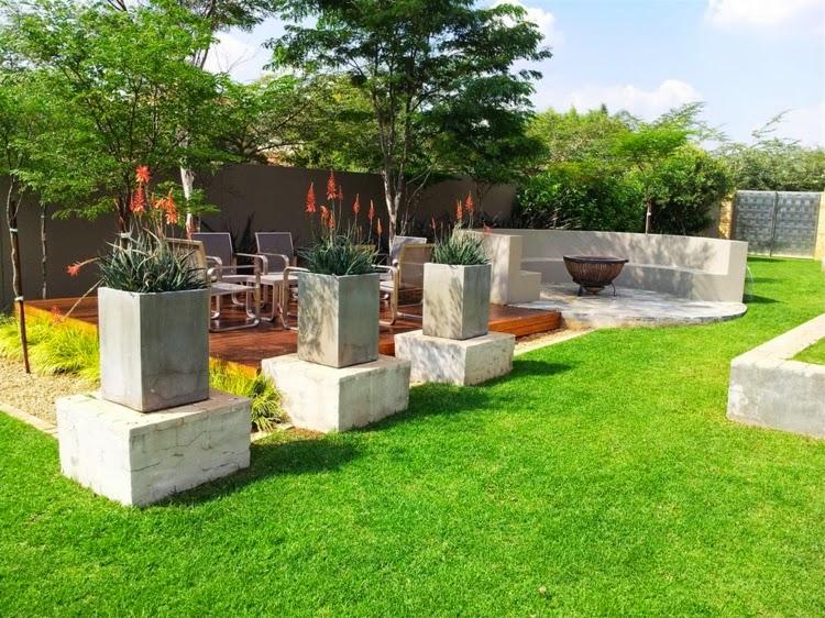 modern garden design Flowerpot concrete terrace wood