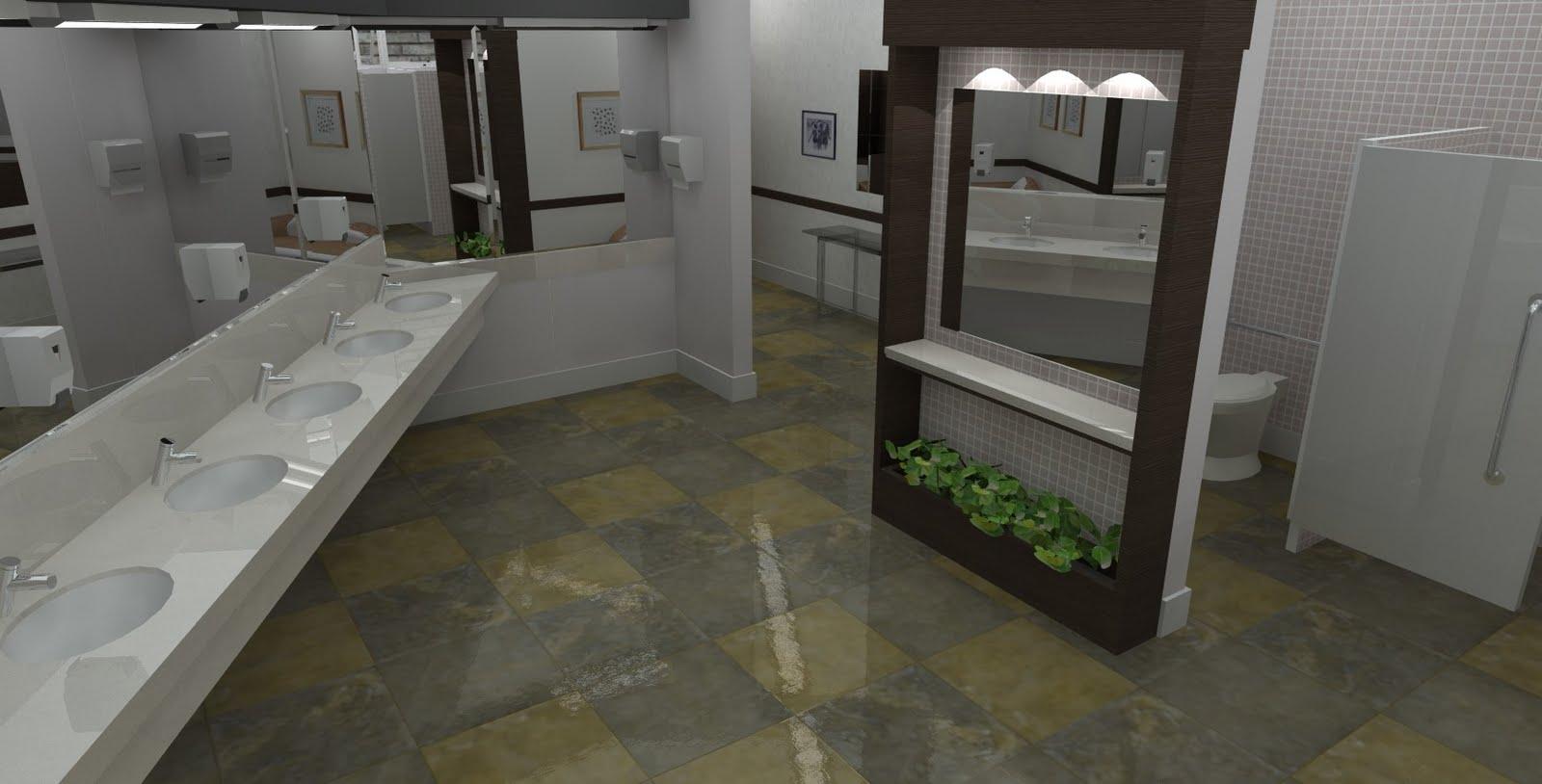 Projetos em 3D: Reforma de Banheiro Feminino em Clube #4F5840 1600 814