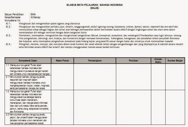 Contoh Silabus Bahasa Indonesia Kelas XI Semester Ganjil dan Genap