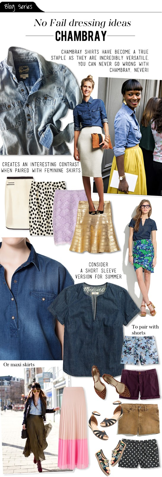 Blog series no fail dressing ideas chambray shirts for Cuisine you chambray