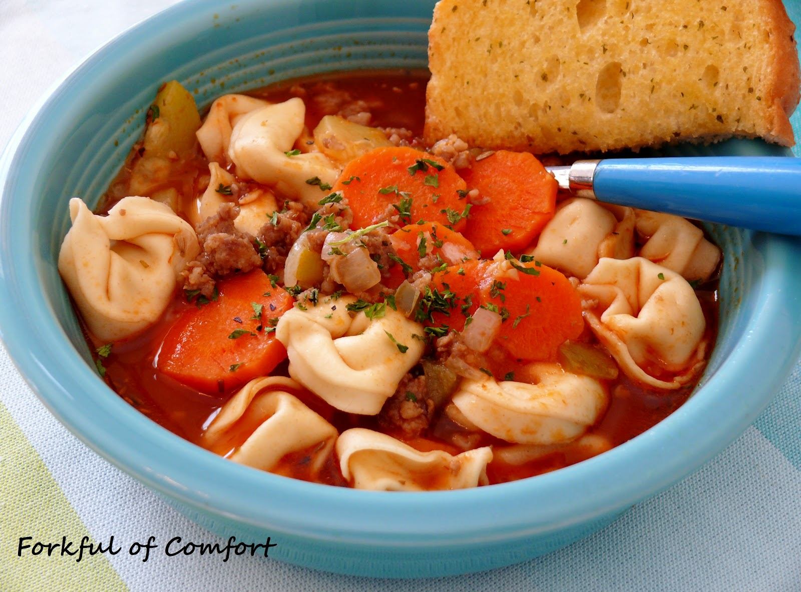 Forkful of Comfort: Italian Sausage & Tortellini Soup
