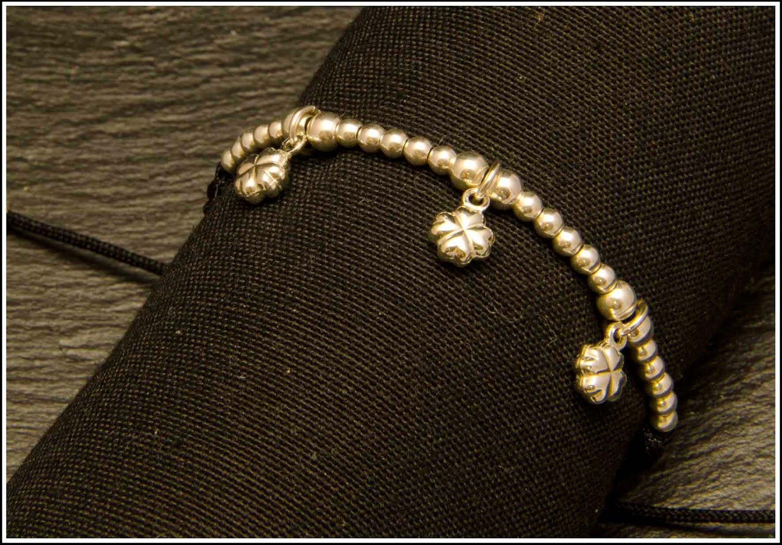 Pulsera plata, artesanal, personalizada, treboles suerte, tendencias, complementos