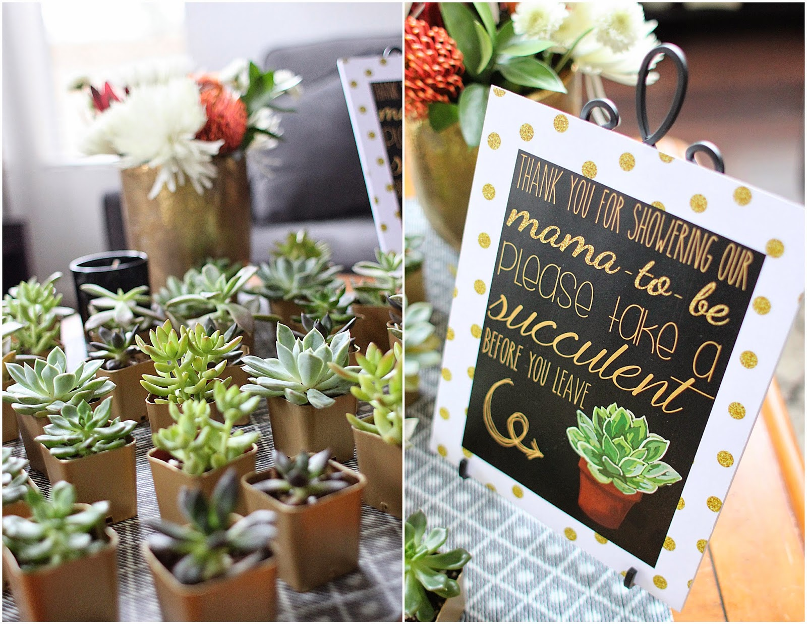 Baby Shower Favors To Buy ~ Shades of gray black white gold shower with succulents