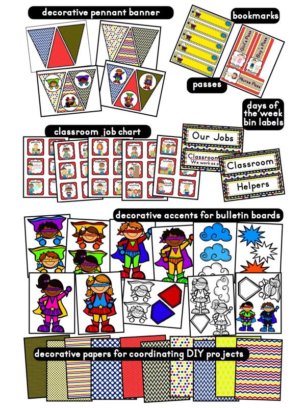 Superhero Classroom Decor Printables : Clutter free classroom superheroes superkids themed