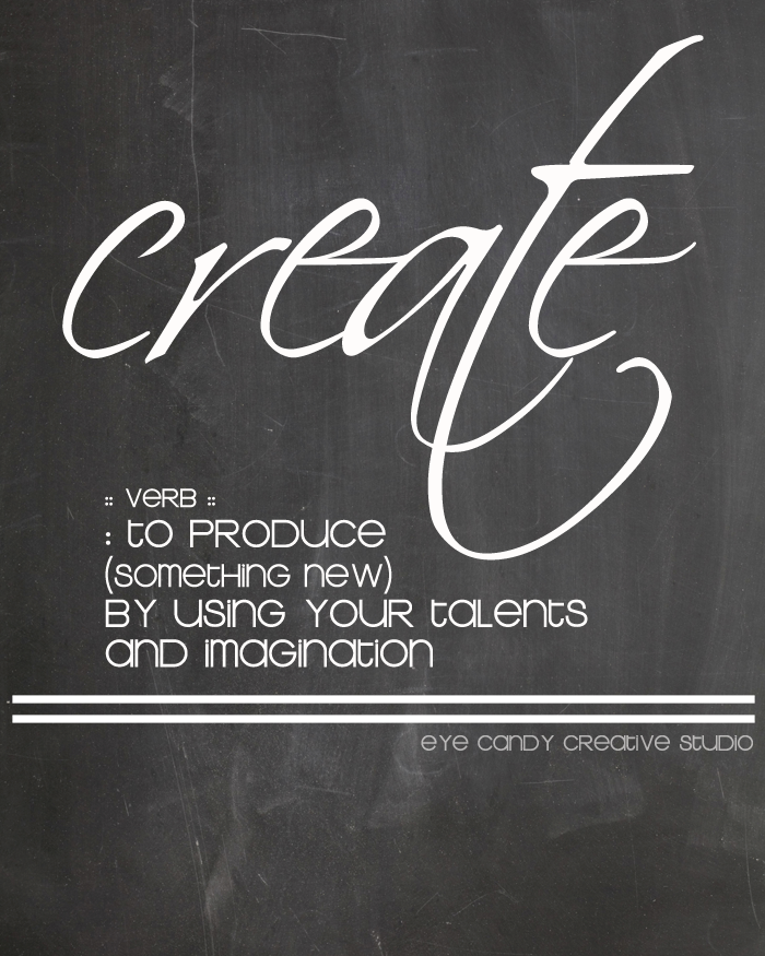 the definition of create, chalkboard art, create, one little word