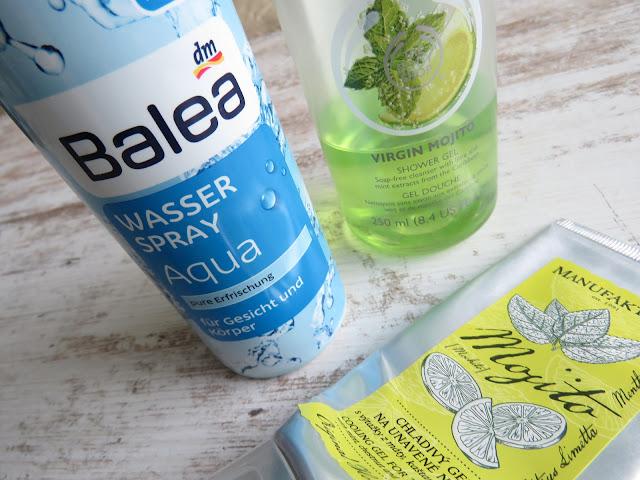 BALEA Wasserspray, THE BODY SHOP Virgin Mojito sprchový gél, MANUFAKTURA Mojito chladivý gél na unavené nohy