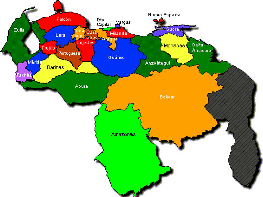 Mapa de Venezuela y su division