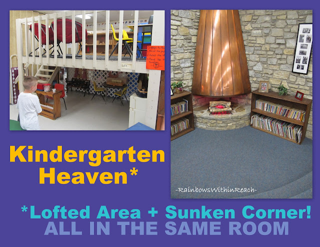 ... loft and reading corner, sunken reading corner in classroom