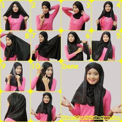 cara pakai shawl 2