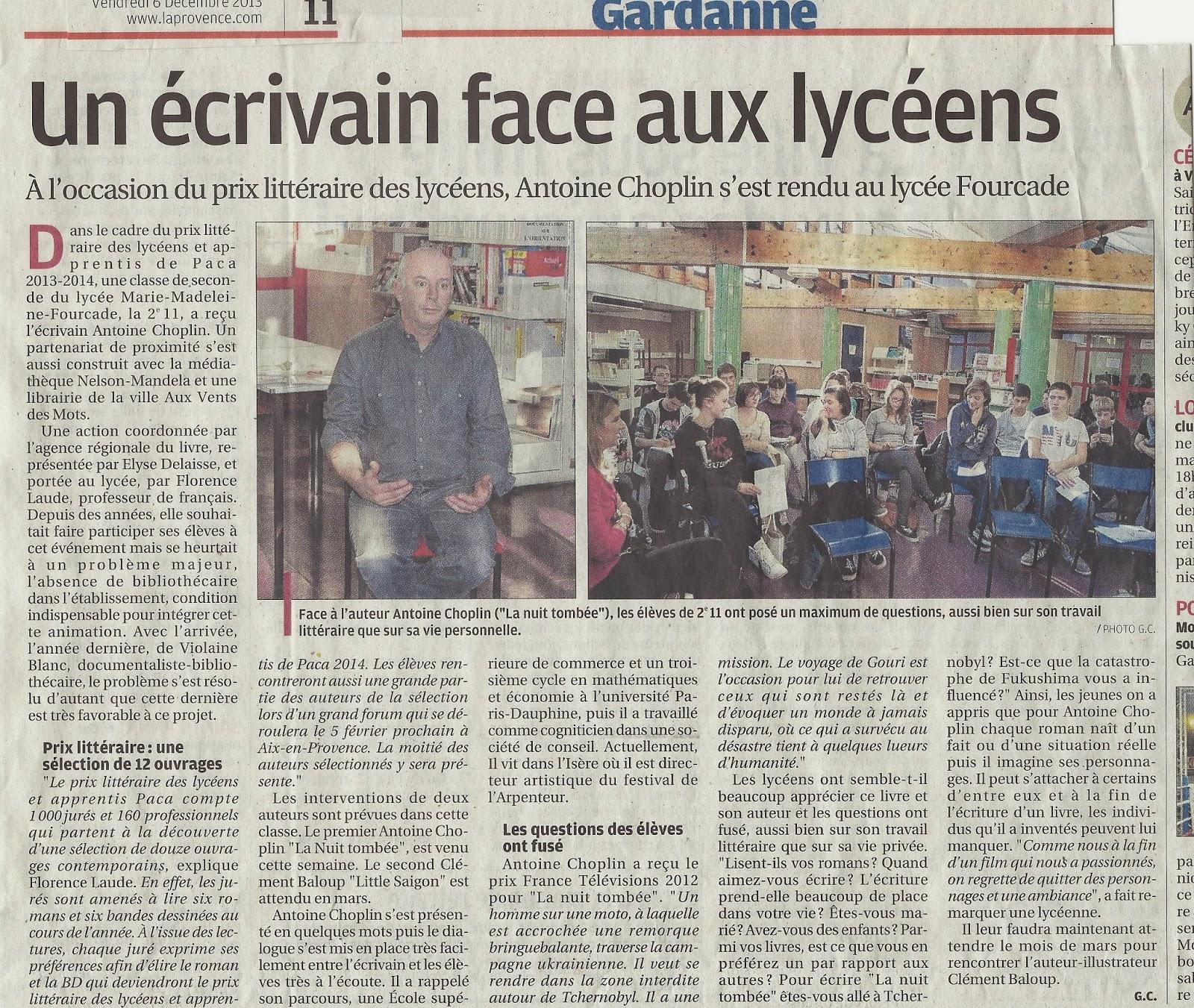 Article dans le journal la provence le 6 d cembre 2013 propos de la visite - Le journal de provence ...