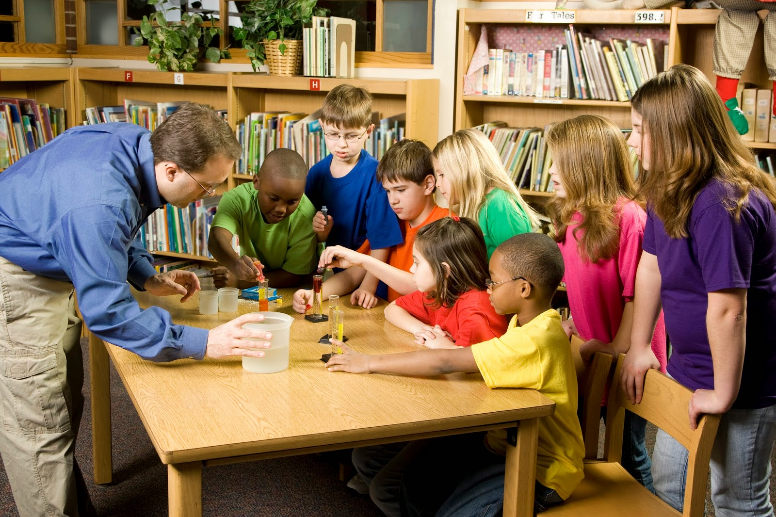Students interacting in a hands on activity