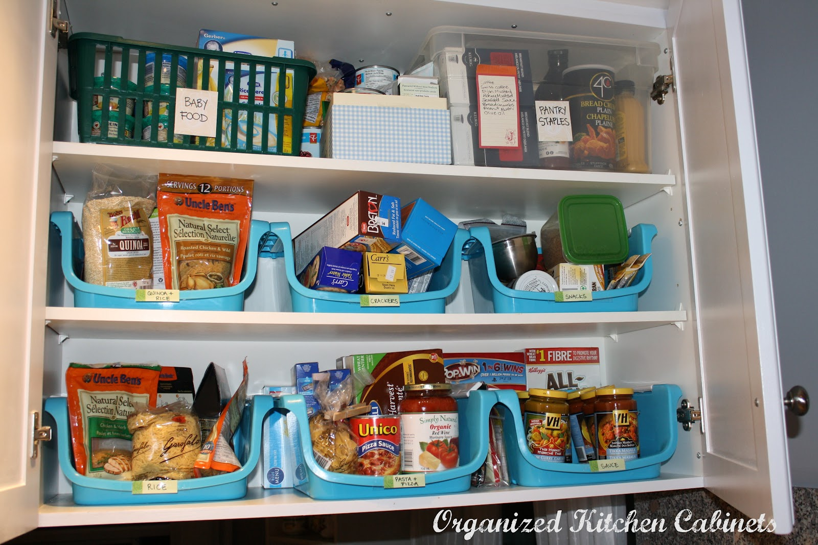 Simcoe street organizing kitchen cupboards food storage for Organization ideas for kitchen pantry