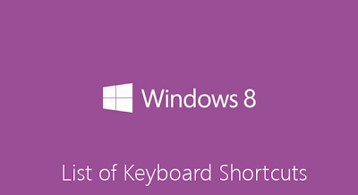 list keyboard shortcut windows 8