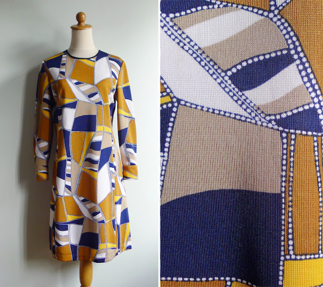vintage 70's op art shift dress