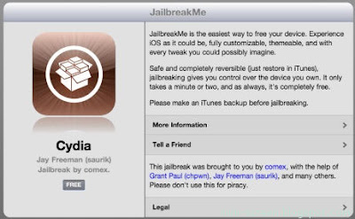 Jalbreakme 3.0 on iPad 2 interface: Cydia