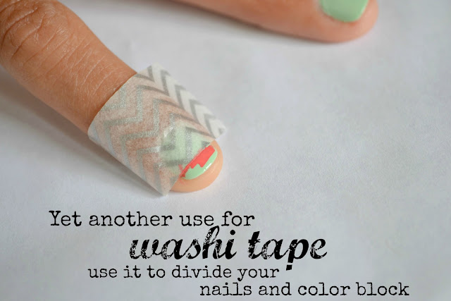 Mommy Testers Color Block nail art using washi tape #IHeartMyNailArt #cbias