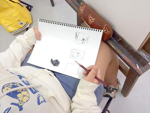 横浜美術学院の中学生教室 美術クラブ 夏休み美術教室  作品のプランニング
