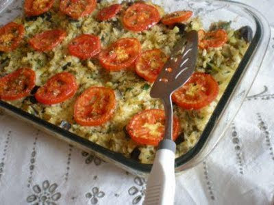 Arroz integral ao forno com berinjela light