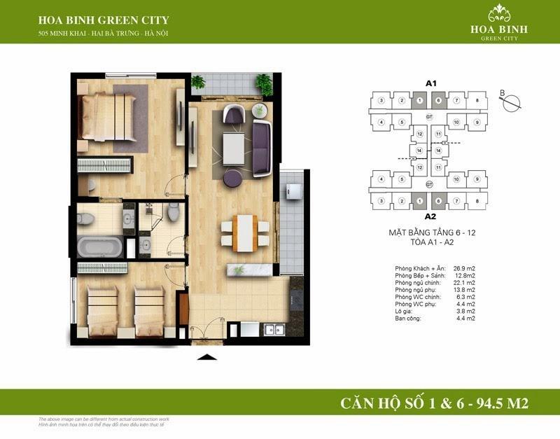 căn số 01 - 06 ( 94,5m2 ) chung cư Hòa Bình Green City