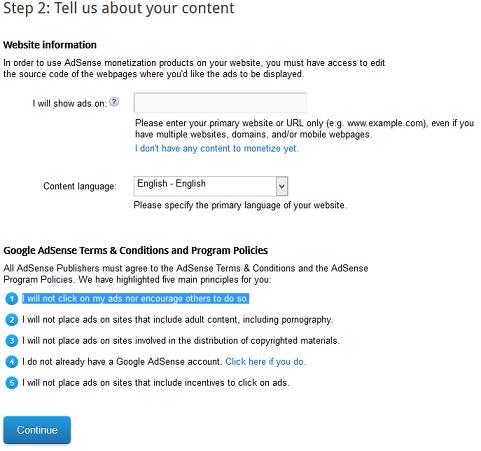 Google AdSense Account Creation Step 2