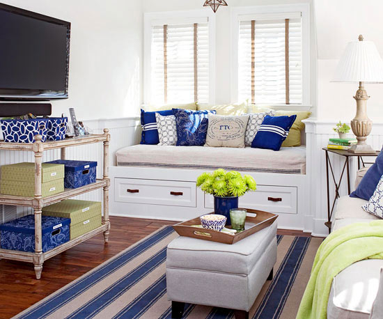 Decorated In Crisp White And Blue With Pops Of Spring Green, The Inviting  Open Living Area Not Only Serves As Living, Dining, Kitchen, And Work Space     It ...