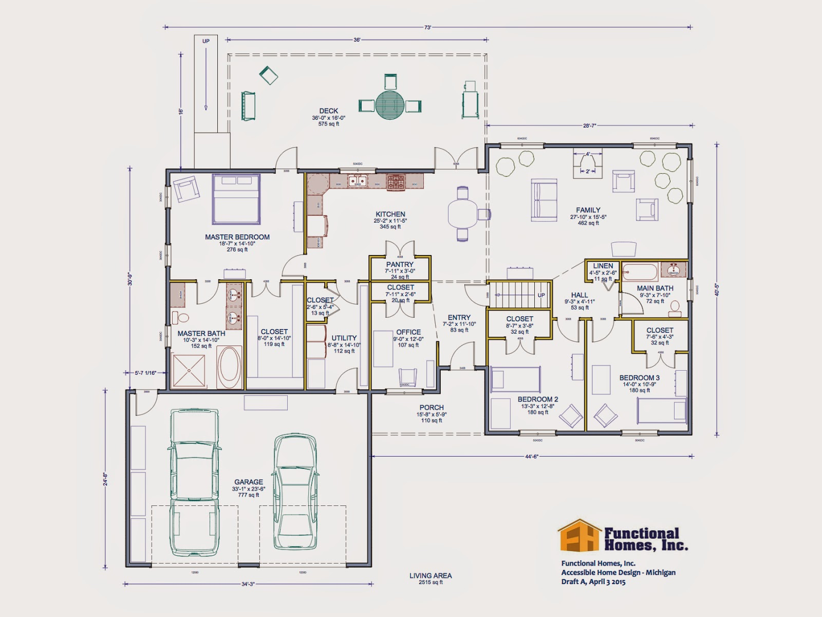 3 bedroom wheelchair accessible house plan work in for Handicap home designs