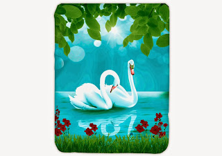 Jual Selimut Kendra Soft Panel Blanket Swan Lake