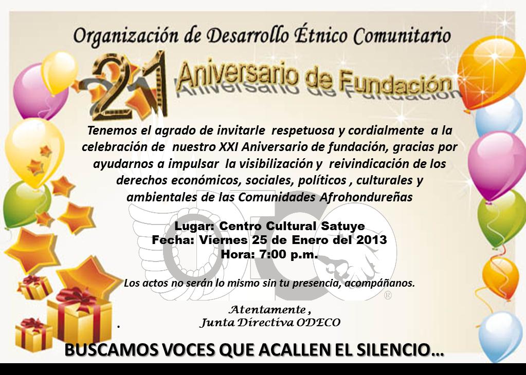 2014 A  O Del XXII Aniversario De Fundaci  N De La ODECO