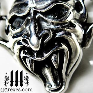 silver devil gargoyle necklace detail