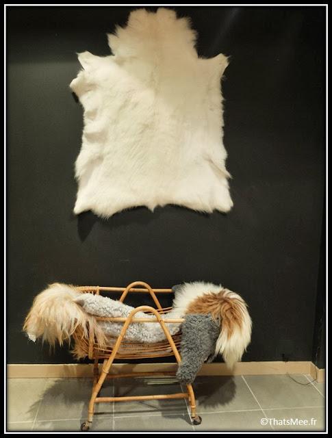 Jippi Design norvégien Peaux mouton renne meuble scandinave landau, Jippi pop up store Marais Paris