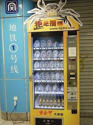 Máquina expendedora vende cangrejos vivos en un metro de China