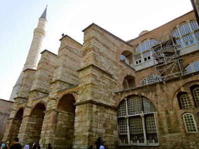 The left side of Hagia Sophia Museum at Istanbul Turkey