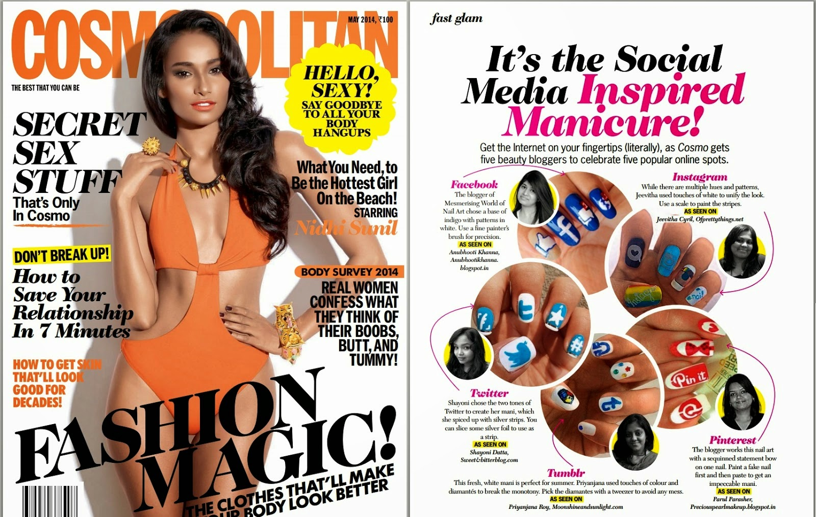 My first feature in a magazine!!!! My tumblr nail art in COSMOPOLITAN India!!