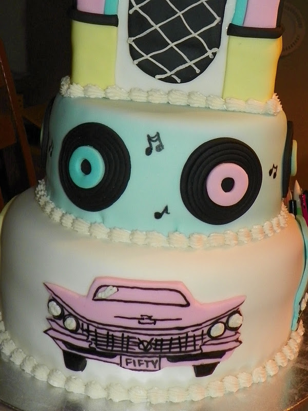 This 3 Tier Cake Was For A Fifties Theme 50th Birthday Party The Jukebox Carved From And Finished With Fondant Details Records Cars Were
