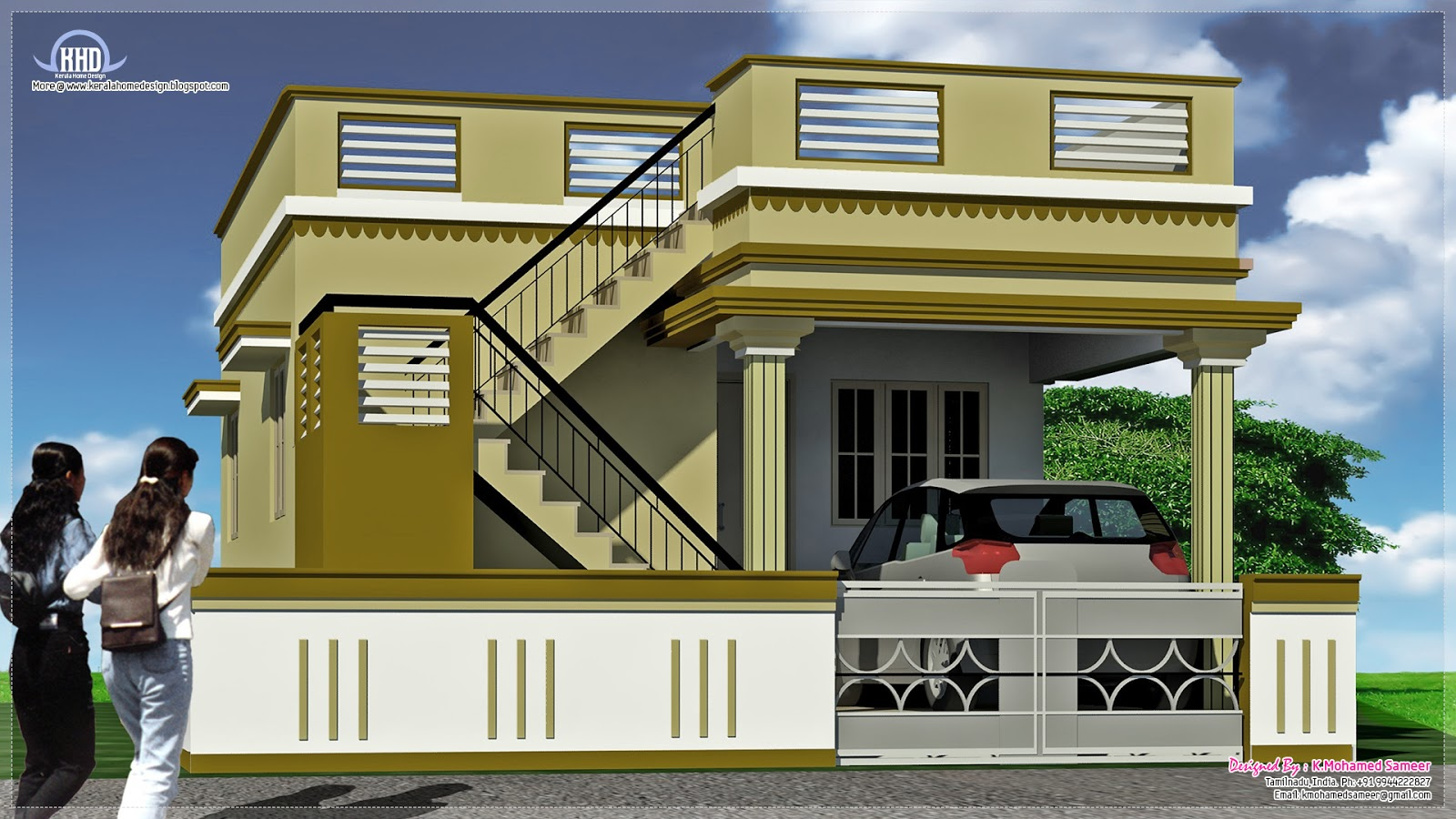 2 south indian house exterior designs kerala home design for Two floor house design
