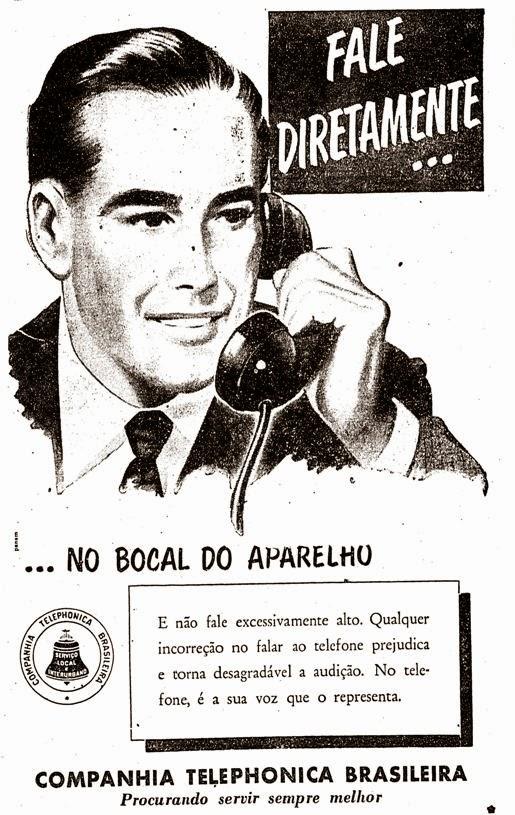 Companhia Telephonica Brasileira. Instruções para falar no telefone em 1956.
