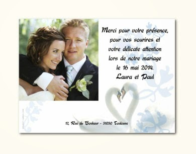 exemple de carte de remerciement mariage invitation. Black Bedroom Furniture Sets. Home Design Ideas