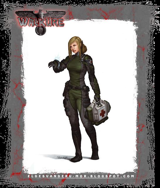 Ilustración de personaje -médico de campaña- hecha por ªRU-MOR para el juego de rol de WALKÜRE. Donde se representa una médico con indumentaria futurista o de ciencia ficción.