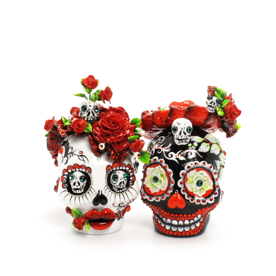 day of the dead wedding cake topper mexican skull 00082