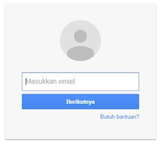 Kolom memasukan akun gmail di blogger