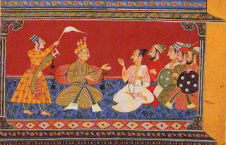 Illustration from the Shangri Ramayana Series: King Dasaratha in Conference