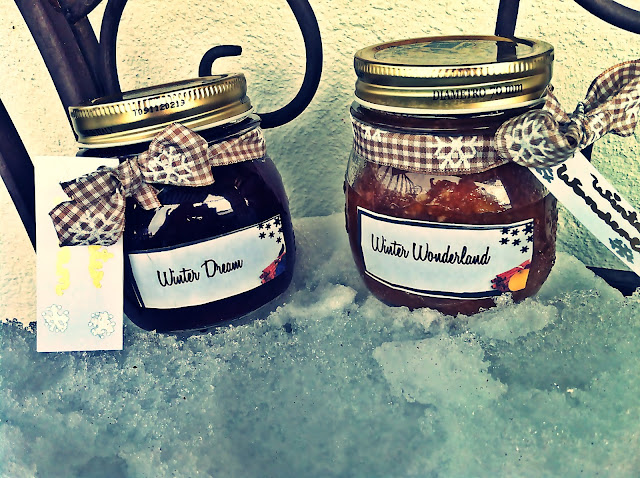self decorated jam jars